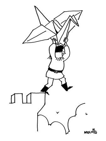 A bearded man stands at the top of a castle ledge, with an origami paper c? - New Yorker Cartoon