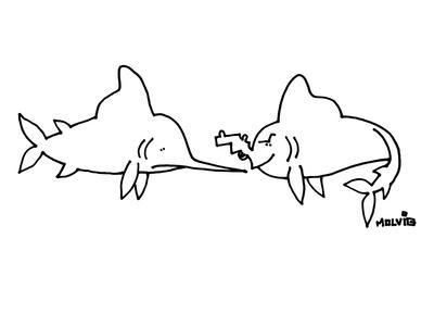 A sword fish is looking at a fish with a gun for a mouth. - New Yorker Cartoon