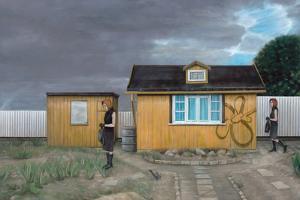 Die nacht an jedem tag 2005, oil on wood by Aris Kalaizis