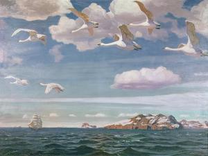 In the Blue Space, 1918 by Arkadij Aleksandrovic Rylov