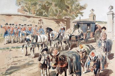 A Post-Chaise Entering a Walled Compound and Passing Between a Band and a Donkey Train, 1886