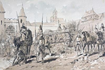 Cavalry and Foot Soldiers with Horse Drawn Wagon Carrying Arms and Supplies During the 13th Century
