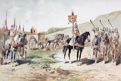 Crusaders on the March in the 11th Century with a Horse-Drawn Supply Wagon, 1886