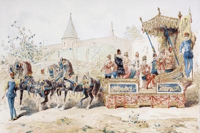 Horse Drawn Decorated Wagon Carrying Professional Musicians, 16th Century, 1886