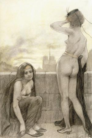 Two Partially-Clad Women by a Wall in a City, 1897