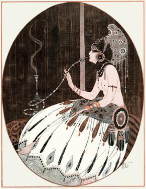 Smoking an Egyptian Bong 1918 by Armand Vallee