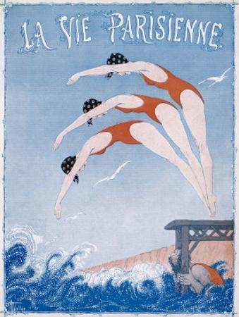 The Elegant Motion of a Woman Diving into the Sea Watched by a Male Friend by Armand Vallee