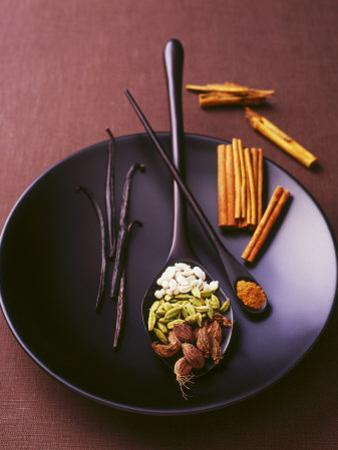 Still Life with Spices on a Black Plate by Armin Zogbaum