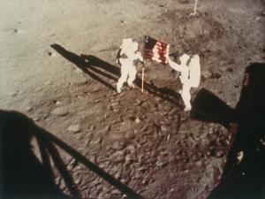Armstrong and Aldrin Unfurl the Us Flag on the Moon, 1969