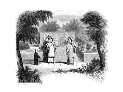 Ladies Walking, Garden Scene of One of the Wealthier Classes, 1847