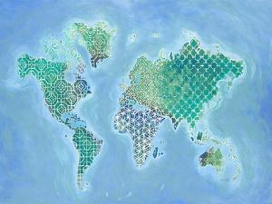 Global Patterned World Map by Arnie Fisk