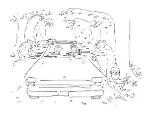 Bears in woods washing windshields. - New Yorker Cartoon by Arnie Levin
