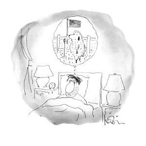 Bleary-eyed man lays in bed;the sheep he has been counting are staging a t? - New Yorker Cartoon by Arnie Levin