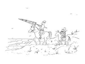 Don Quixote rides his horse along beach, carrying an umbrella. He is follo? - New Yorker Cartoon by Arnie Levin