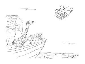 Dove brings, pizza to Noah's Ark. - New Yorker Cartoon by Arnie Levin
