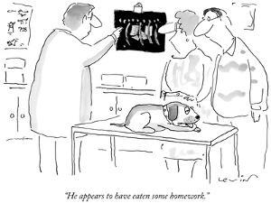 """""""He appears to have eaten some homework."""" - New Yorker Cartoon by Arnie Levin"""