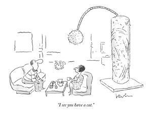 """I see you have a cat."" - New Yorker Cartoon by Arnie Levin"