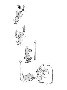 Little dog juggles his master's slippers, balances them on his nose, and t… - New Yorker Cartoon by Arnie Levin