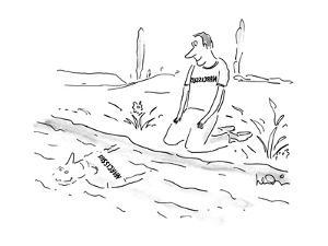 """Man gazing at himself in water wearing a T-shirt that spells """"Narcissus"""" b? - New Yorker Cartoon by Arnie Levin"""
