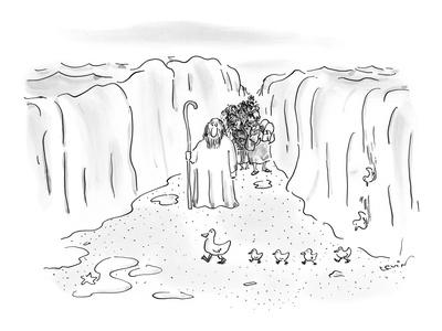 Moses crossing the Red Sea waits for a family of ducks to pass by. - New Yorker Cartoon