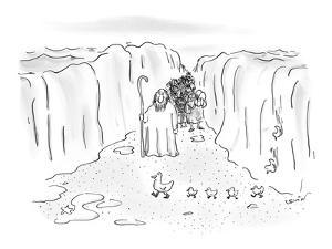 Moses crossing the Red Sea waits for a family of ducks to pass by. - New Yorker Cartoon by Arnie Levin