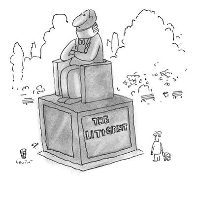 """Park statue of a man sitting in a chair, wearing a neck brace.  The inscri…"""" - New Yorker Cartoon by Arnie Levin"""