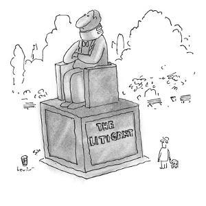 "Park statue of a man sitting in a chair, wearing a neck brace.  The inscri…"" - New Yorker Cartoon by Arnie Levin"