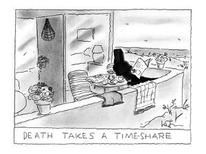 The Grim Reaper by the beach. - New Yorker Cartoon by Arnie Levin