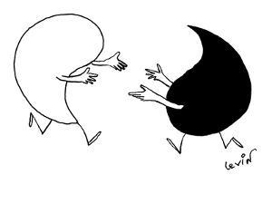 Yin and Yang symbols run toward each other with arms extended. - New Yorker Cartoon by Arnie Levin