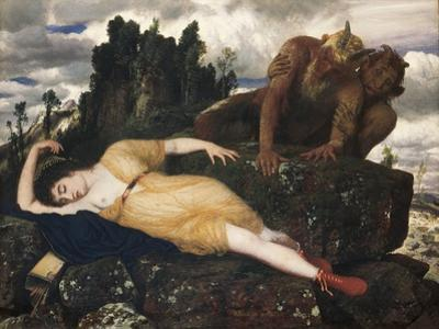 Sleeping Diana Watched by Two Fauns, 1877 by Arnold Böcklin