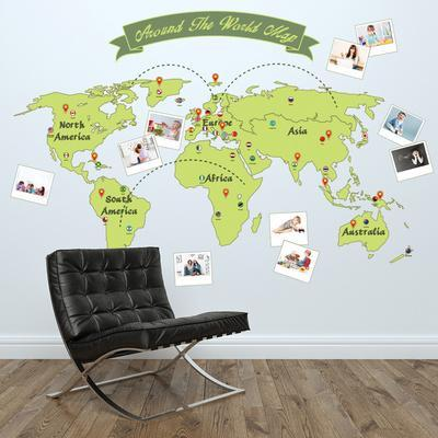 Around The World Map. Wall Decal