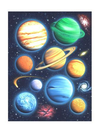 Arrangement of Colorful Planets on Galaxy Background