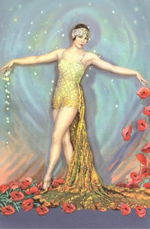 Art Deco Dancer with Poppies