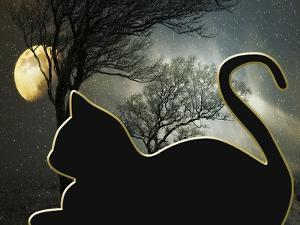 Cat and Moon by Art Deco Designs