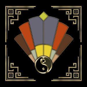 Fan 11 Frame 2 On Black by Art Deco Designs