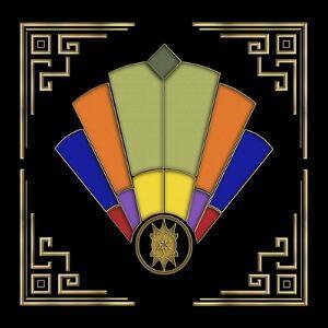 Fan 7 Frame 2 On Black by Art Deco Designs