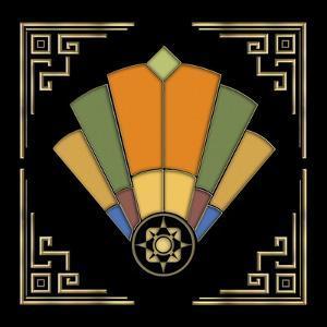Fan 8 Frame 2 On Black by Art Deco Designs