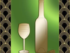 Wine Bottle And Glass by Art Deco Designs