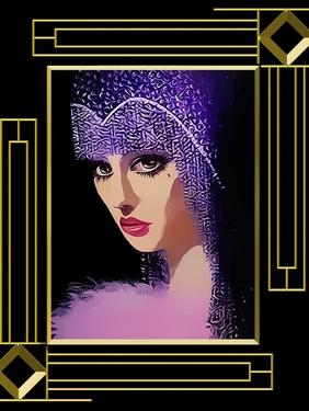 Woman In Purple Hat Frame 3 by Art Deco Designs
