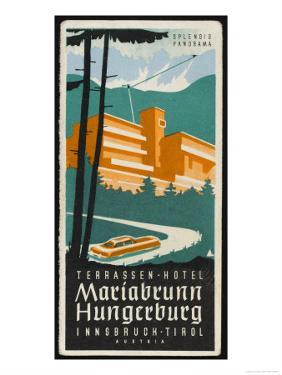 Art Deco Label Fron the Terrassen Hotel Mariabrunn Hungerberg Innsbruck Austria