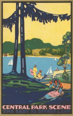 Art Deco Poster, Central Park Scene, New York City