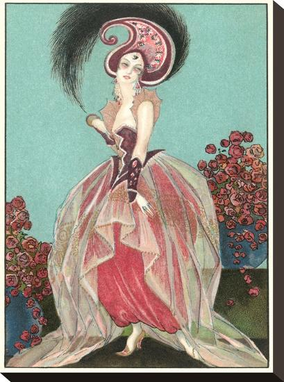 Art Deco Woman With Paisley Hat-Found Image Press-Stretched Canvas