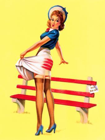 Sit Down Stripes Pin-Up c1940s by Art Frahm