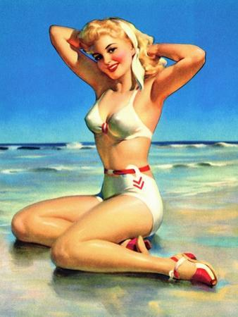 Yours for the Basking Bikini Pin-Up 1940s by Art Frahm