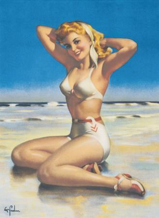 Yours For the Basking - Blonde Swimsuit Beauty on Beach by Art Frahm