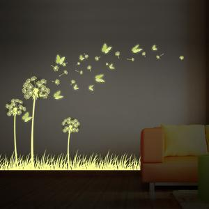 Art Glow in Dark Dandelion with 3D Butterflies