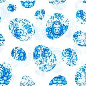 Blue Floral Easter Eggs Seamless Pattern by art_of_sun