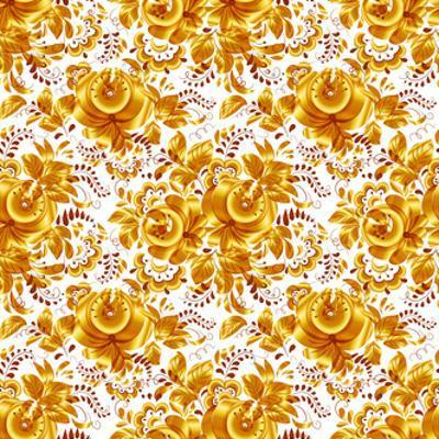 Golden Floral Vector Seamless Pattern by art_of_sun
