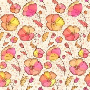 Red, Orange and Yellow Flowers Vector Pattern by art_of_sun