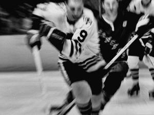 Bobby Hull No.9 in Action During Game Between Chicago Black Hawks and NY Rangers by Art Rickerby